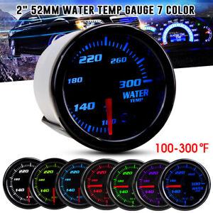 Universal 2'' 52mm 7 Color LED Car Water Temperature Gauge Temp Meter 100~300℉