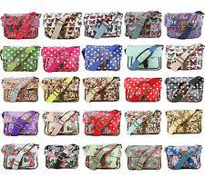Flowers Polka Dots Ladies Oilcloth  Messenger Shoulder Satchel Women School Bag