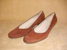 Gemsy Cognac Suede Kid Low Heel Shoes by Salvatore Ferragamo in Box - 8 AA