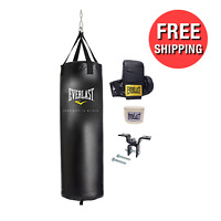 Punching Bag Kit Gloves Hand Wraps Training MMA Boxing Starter Set 100 LB Pound