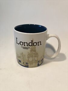 Starbucks Collectible Mug London Featuring Big Ben: Blue & White 2014 -16 fl oz