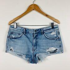 Lee Womens Denim Shorts Size 12 Distressed Raw Wash Edgy