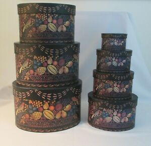 Rare Bob's Boxes Primitive Antique Theorem Blk Fruit Basket ~Set 7 Nesting Boxes