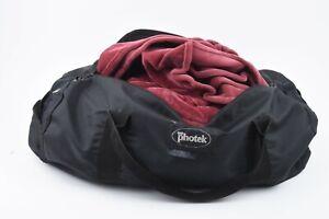 EXC++ PHOTEK 6' x 7' ROYAL BURGUNDY VELOUR BACKGROUND CLOTH IN A BAG, NICE