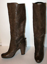 LATITUDE FEMME Brown Crinkled SOFT Leather Textured Knee Length Boots 40 9