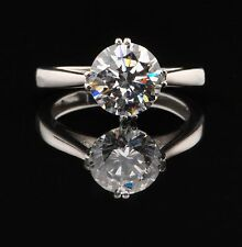 Real 14KT White Gold 2.70 Carat Stunning Round Shape Solitaire Anniversary Ring