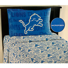 NEW NFL Football Detroit Lions Twin Sheet Set w/ One Pillow Case Cover -3PC