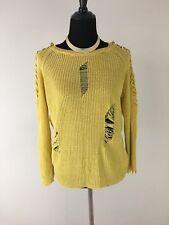 Fashion Nova Yellow Distressed Knit Sweater Size M/L