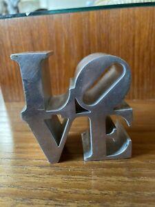 "1970s Vintage ROBERT INDIANA 3 1/8"" LOVE Aluminum Paperweight Sculpture"