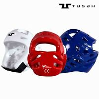 Tusah WT Approved Taekwondo Headguard Head Guard Hood Blue White Red Adults TKD