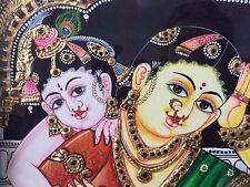 Nacionales Tanjore sur de la India hecho a mano de pintura oro religioso Madre E Hijo