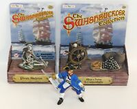 Pirate Lot Papo Captain Figure, Safari Pirate Skeleton, Ship's Helm, Cannonballs