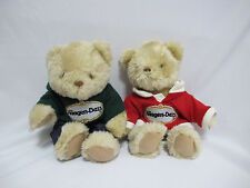 (2) NWOT Haagen-Dazs Teddy Bear Red Sweater/Green Hoodie Plush Toy Decoration