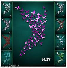 64 Set 3D Schmetterlinge N.17 Wandtattoo Wanddeko Rosa-Lila Wandaufkleber