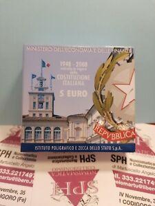 MONETA 5 EURO Commemorativa Argento 2008 COSTITUZIONE ITALIANA COFANETTO SPH #58