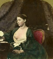 Study of Woman Semi Nude Risque Old Stereoview Photo Hand Tinted Lamy 1861