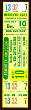 1975 dec 10 NM full ticket stub WHA HOCKEY EDMONTON OILERS VS QUEBEC NORDIQUES