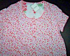 NWT Encore Karen Neuburger DITSY PINK FLORAL Pajama BERMUDA Shorts Set S White