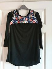 Women's Cut Out Shoulder Tunic Style Top Size S