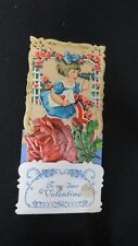 Vintage Victorian Girl using Binoculars & Rose Valentine Card Early 1920s German