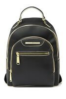 Steve Madden Bakima Adjustable Backpack Purse Black White Gold Accents