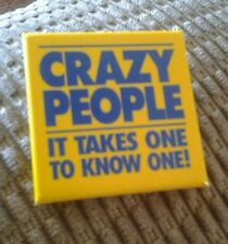 CRAZY PEOPLE MOVIE PROMO PIN 1990 2 INCH SQUARE PIN