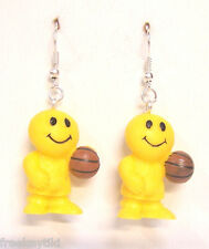 Silly Sports Basketball Dudes Happy Smile Smiley Face Figures Dangle Earrings