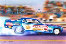 """Tom """"the Mongoose"""" McEwen's 72 """"HOTWHEELS"""" Duster   Drag Racing Art Print"""