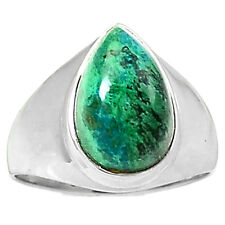 Chrysocolla - Peru 925 Sterling Silver Ring Jewelry s.8 CCPR29