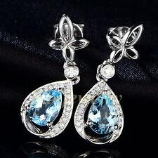 Gemuine 1.86CT Aquamarine Solid 18K White Gold Natural Diamond Drop Earrings
