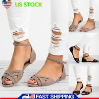 Fashion Rome Summer Womens Holiday Beach Shoes Wedge Open Toe Flat Sandals Shoes