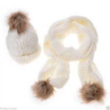 Set bufanda y gorro de punto y pelo Women Casual Faux Fur Knitted Scarf Hat Set