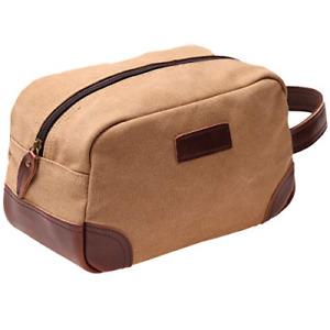 Vintage Leather Canvas Travel Toiletry Bag Shaving Dopp Kit #A001 (Khaki)