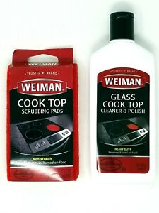 Weiman Ceramic and Glass Cooktop Cleaner with Scrubbing Pads, 10oz and 3 Pads