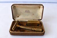 "Vintage Gem Micromatic Gold De-Luxe Single Edge Safety Razor Set 1930S Rare""F"