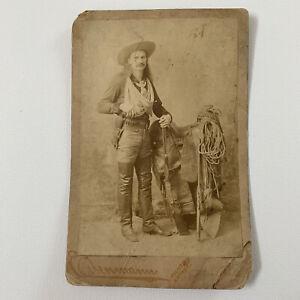 Antique Cabinet Card Photo Wild Burt Rifle Shot New York Gun Cowboy Western