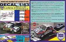 ANEXO DECAL 1/43 LANCIA DELTA HF INTEGRALE D.AURIOL R.ARGENTINA 1992 WINNER (01)