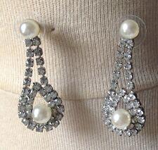 boucles d'oreilles clous vintage cristal diamant perle nacrée pendante /136