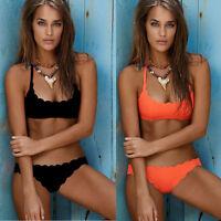 Womens Summer Beach Solid Bikini Set Push-Up Padded Bra Thong Swimsuit Swimwear