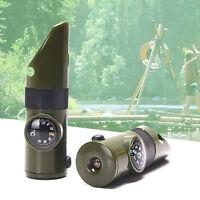 7 in1 Multi-function Survival Tool Emergency LED Light Whistle Kit Outdoor