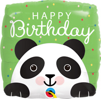 "SQUARE BIRTHDAY PANDA FOIL BALLOON 18"" QUALATEX FOIL BALLOON"