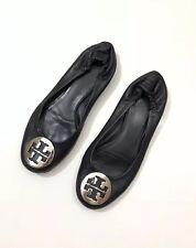 TORY BURCH BLack Leather Silver Logo Reva Ballet Flats Womens Size 7