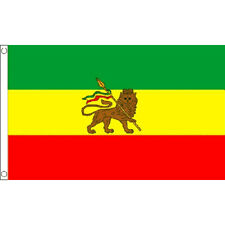Ethiopia With Lion (Rasta) Flag 5Ft X 3Ft Africa African Country Rasta Banner