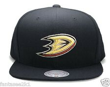 Anaheim Ducks Mitchell & Ness Current Solid Wool Black Snapback Hat Cap NHL