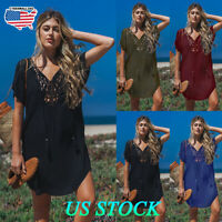 Plus Size Women V Neck Short Sleeve Loose Midi Dress Lady Kaftan Beach Cover Up