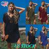 Plus Size Women V Neck Short Sleeve Loose Midi Dress Lady Kaftan Beach Cover Up