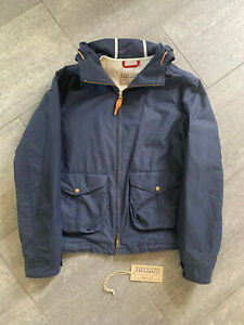 CECCARELLI VINTAGE STYLE WINDBREAKER JACKET MADE IN ITALY BLUE COTTON SIZE L NEW