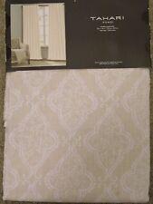 TAHARI Tan White DAMASK Window Panels Drapes Set 2 NEW 52 x 96 Paisley