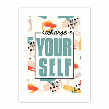 Funky Affirmation Recharge Yourself Print Canvas Premium Wall Decor Poster