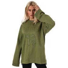 Womens Puma Womens Fenty LS Graphic Crew Neck T-Shirt in olive - 10